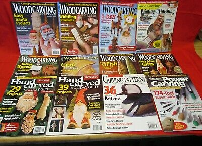Lot of 12 Wood Carving Illustrated Magazines, 2004-2012, Patterns