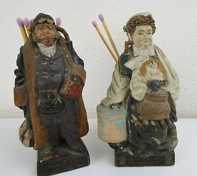 Pair Of 19Th Century French Bisque Match Or Spill Holders (Pyrogène) Figurines