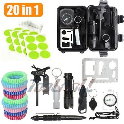 20in1 Outdoor Military First Aid Survival Kit Tool Box Emergency Kit For Camping