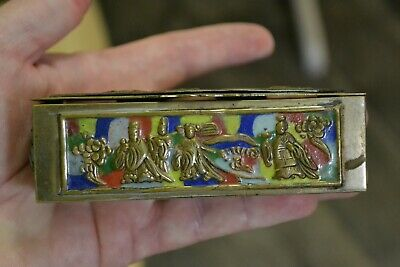 Vintage  Early - Mid 20th Century Chinese Brass & Cloisonné Hinged pill box