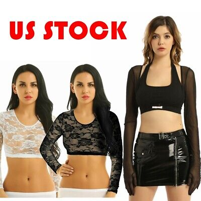 Women's Lace Floral Long Sleeves Mesh Sheer Crop Top Sexy Short T-Shirt Blouse