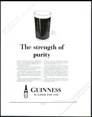 1934 Guinness Stout beer pint glass art The Strength Of Purity vintage print ad