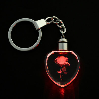 Fairy Crystal Rose LED Light Keychain Love Heart Key Chain Ring Keyring FT