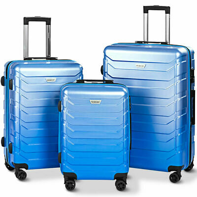 "3PCS Luggage Set Expandable Suitcase PC+ABS Spinner W/TSA Lock 20"" 24"" 28"" Blue"