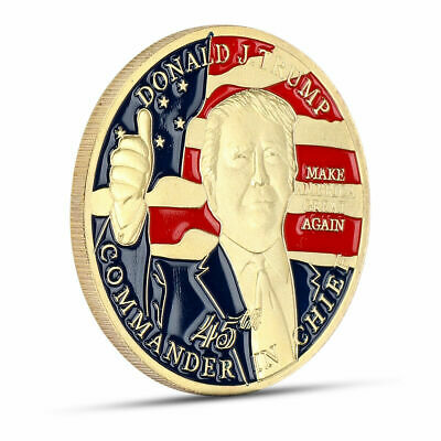 45th Donald Trump Gold Plated Make America Great Again Commemorartive Coin SZ