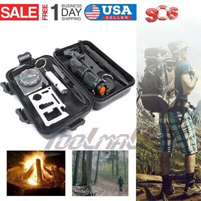 10 in 1 Professional Survival Equipment Kit Outdoor Camping SOS Emergency Tool