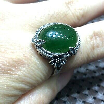 Chinese Old S925 Silver & Green Hetian Jade Bead Handwork No.7-12 Ring 5.3 g