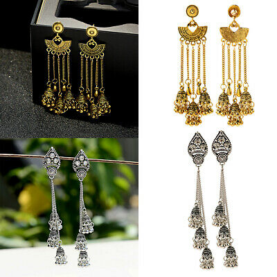 Bohemian Women's Gypsy Long Tassel Bead Jhumka Indian Ethnic Dangle Earrings