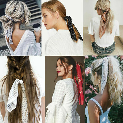 Women Scrunchie Ponytail Holder Elastic Long Ribbon Bow Hair Band Rope Hair Ties
