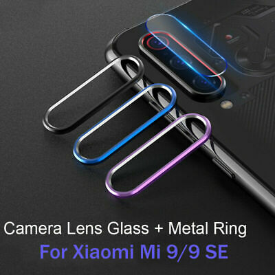Back Camera Lens Protector Tempered Glass + Metal Ring Case For Xiaomi Mi 9/9 se