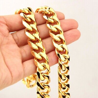 15mm Curb Cuban Rombo Chain 18K Gold Plated 316L Stainless Steel Men's Necklace