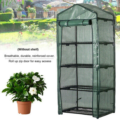 4 Tier Garden Greenhouse Shelves Plants Shed Walk In W/ Reinforced Cover Plastic