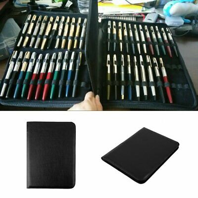 Fountain Pen/Roller Pen Black Color PU Leather Zipper Case for 48 Pens EK
