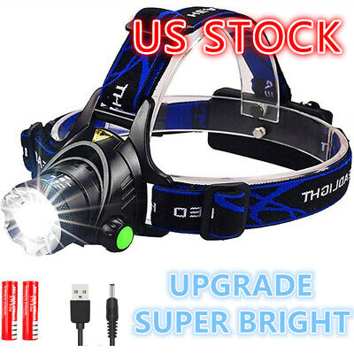 90000LM Zoom Headlamp Rechargeable LED Headlight 18650 Flashlight Head Torch