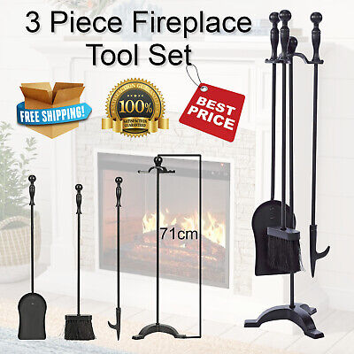 3 Piece Fireplace Tool Set Shovel Brush Poker with Stand Fire Place 71cm Height