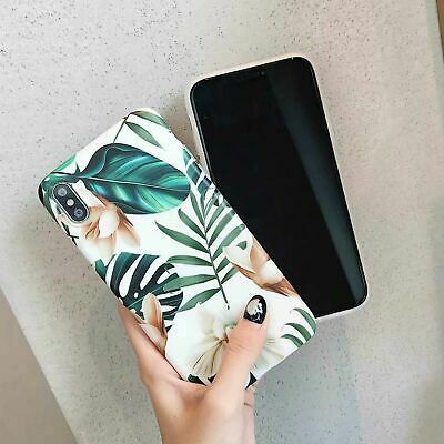 Soft Phone Case For iPhone XS MAX XR X 7 8 Plus Glossy Green Leaf Flower cover