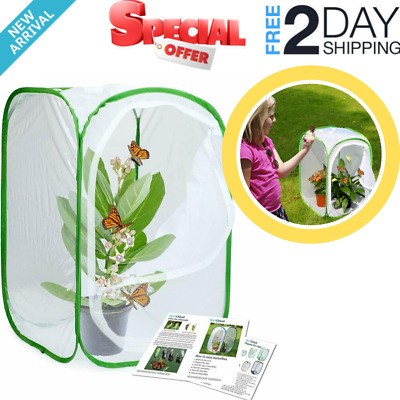 Insect and Butterfly Habitat Cage Terrarium Pop-up 23.6 Inches Tall White NEW