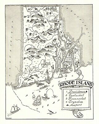 1950s Antique RHODE ISLAND State Map Animated Map of Rhode Island BW 6807