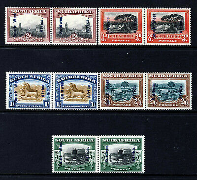SOUTH WEST AFRICA 1927 Pictorial Part Set Bilingual Pairs SG 49 to SG 53 MINT