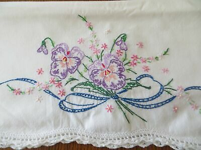 3 Pretty 100% Cotton Pillowcases Lavender Pansies Hand Embroidery Crocheted Trim