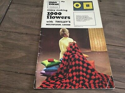 VINTAGE mon tricot 1000 flowers twilleys loom - shawl afghan bed cover bags