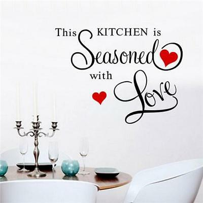 Removable THIS KITCHEN IS SEASONED WITH LOVE Wall Sticker Decal Kitchen Decor CN