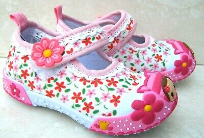 New Baby Girls Leather Insoles White Canvas Nursery Slippers Shoes Ballerinas Uk