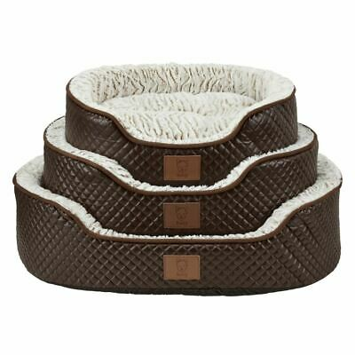 Bunty Manhattan Luxury Quilted Leather Soft Fur Fleece Dog Bed Pet Cat Basket