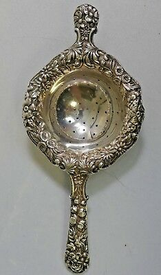 S. Kirk & Son Sterling Silver Over The Cup Tea Strainer - Repousse Pattern
