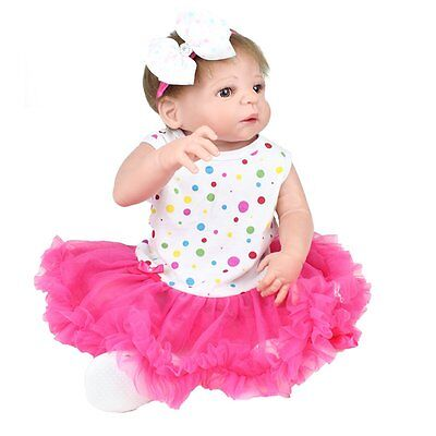 "22"" Reborn Baby Dolls Lifelike Newborn Gift Full Body Vinyl Silicone Girl Doll"