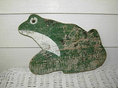 Antique Primitive Old Farm House Wooden Frog - Great Paint Patina