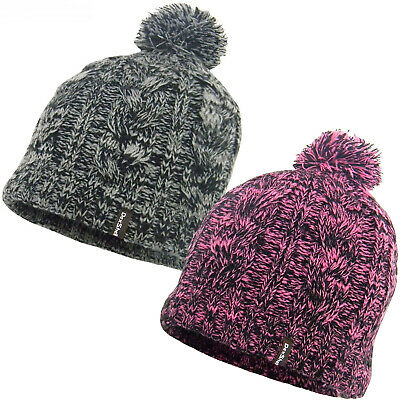 UNISEX MENS LADIES KNITTED PERUVIAN HAT FLEECE LINED  EARFLAPS LATTE SNOWFLAKE