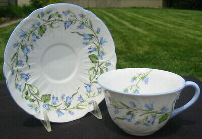 Shelley England Harebell Oleander Cup Saucer Blue Flower Floral Fine Bone China