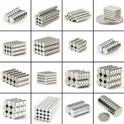 10-100 Round Magnet Discs Rare Earth Neodymium Super Strong Fridge Block Magnets