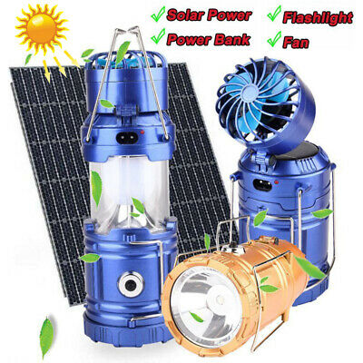 Solar Power Outdoor Fan Rechargeable Camping Lantern LED Tent Light Flashlight