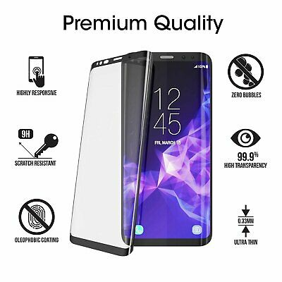 Samsung Galaxy S9 Plus 9+ Screen Protector,Tempered Glass Full Cover (3D Curved)