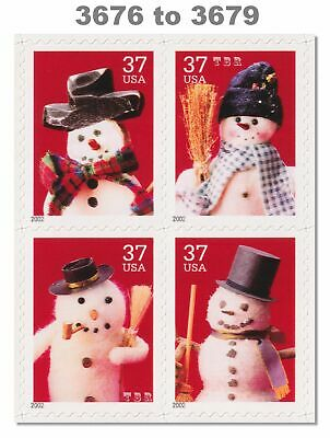 3676-79 3679 3679a Holiday Snowmen Block of 4 From Sheet 2002 MNH - Buy Now
