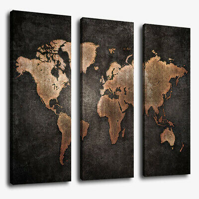 3Pcs Modern Abstract Wall Mount Art Painting World Map Canvas Picture Home Decor