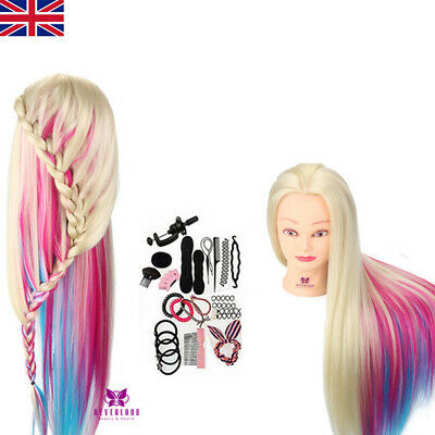 "26''-28"" Salon Hair Training Head Hairdressing Mannequin Doll + Clamp UK Stock"