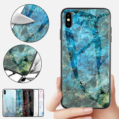 For iPhone 8 Plus 7 6 XS Max XR Case Tempered Glass Back Hybrid TPU Marble Cover