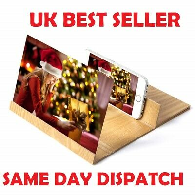 """12"""" 3D Mobile Phone Screen Magnifier HD Video Amplifier for Smartphone Wooden UK"""
