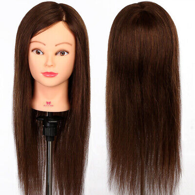 22'' 90% Real Human Hair Hairdressing Training Head Dummy Model Mannequin+Clamp