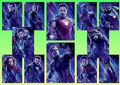 Avengers Endgame: Ironman, Thor , A5 A4 A3 Movie DVD Textless Character Posters