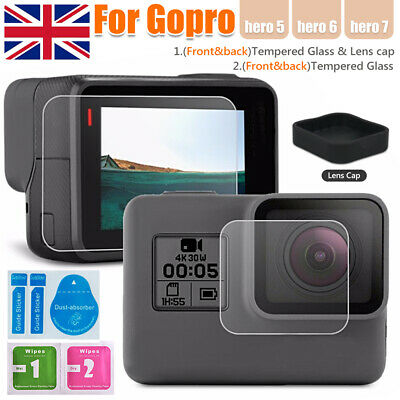 9H HD Tempered Glass Lens Cap Cover Screen Protector For Gopro Hero 5/6/7 LCD