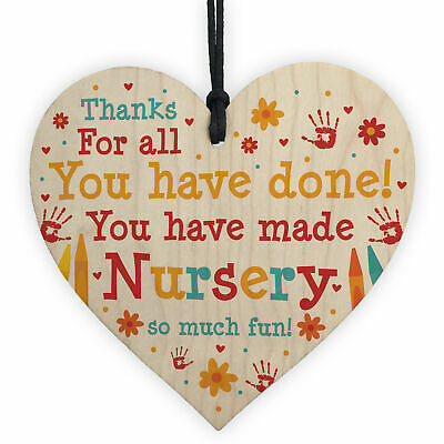 Leaving Nursery Gift Wooden Heart Thank You Nursery Teacher And Assistant Gift