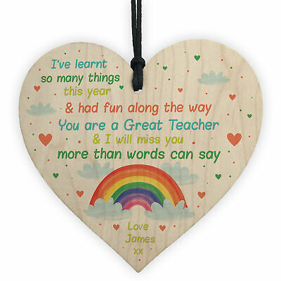 Thank You Wooden Heart Personalised Gift For Teacher Teaching Assistant Leaving