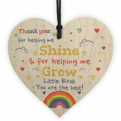 Thank You Gift School Nursery Wood Heart Personalised Gift For Teacher Assistant