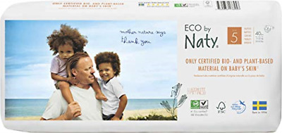Eco by Naty - Premium Disposable Nappies for Sensitive Skin, Size 5, 2 Packs of