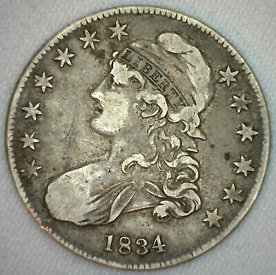 1834 Capped Bust Silver Half Dollar Lettered Edge 50c US Type Coin VF K338