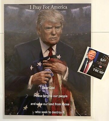 """President Donald Trump 8 1/2"""" x 11 on Card Stock..Prayer, Photo, Picture + Decal"""
